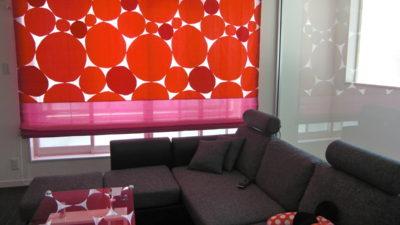尼崎市の御新築にSTONEのREDでシェードカーテンスタイルを提案