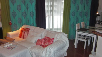 八幡市のマンションのカーテンをCAMENGOのダマスクカーテンでエレガンスモダン