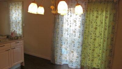 豊中市の輸入住宅のカーテンにはパリジェンヌを使ってレースイン・フロントレースでコーディネート