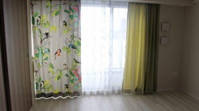 鳥のデザインをデジタルプリントしたバウマンのカーテン 大阪府高槻市