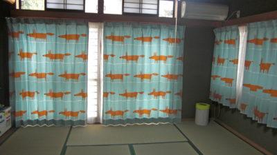 キツネの柄のカーテンで子供部屋をコーディネート  大阪府交野市