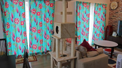 HARLEQUINのカーテンを豊中市のご新築でリゾート風オーダーカーテンコーディネート