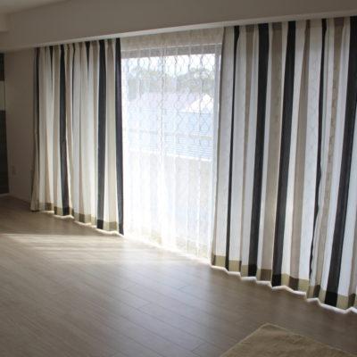 京都市上京区の新築マンションのオーダーカーテンはイタリア製ストライプカーテン