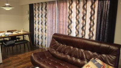 大阪市天王寺区の新築マンションのオーダーカーテンは輸入生地の組み合わせでオシャレにご提案!