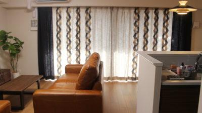 オーダーカーテン 枚方市のマンションのリビングルームはモダンに!大阪