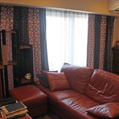 吹田市・南千里の最上階のマンションのオーダーカーテンはオリエンタルモダン