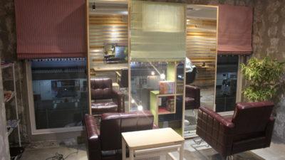 お洒落な美容室のカーテンコーディネート MANAS-TEX 大阪府茨木市