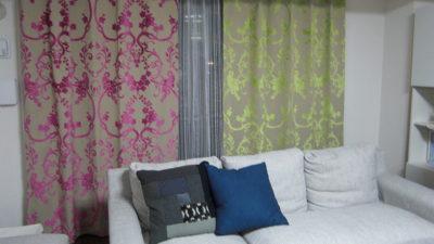 大阪市北区・中津のマンションにはEijffinger社の輸入カーテンを色を変えてコーディネート