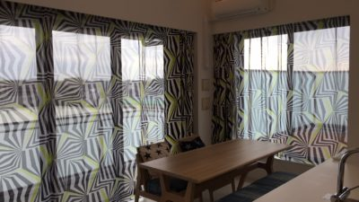 姫路市の新築マンションのオーダーカーテンはサイケデリックで個性的に。