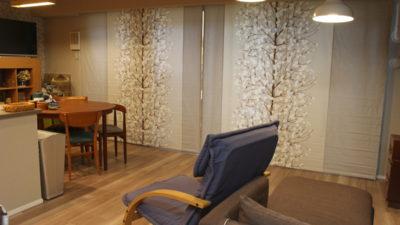 大阪市のマンションに北欧カーテンのマリメッコを使って大人っぽいインテリアに