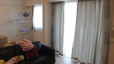 カーテン施工写真、箕面市、千里中央の新築マンションにシンプルモダンなカーテンでコーディネート