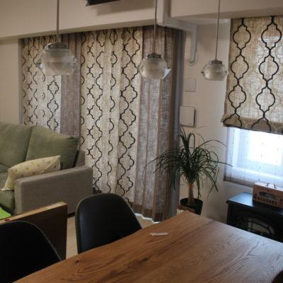 大阪市福島区のマンションのオーダーカーテンはナチュラルな輸入カーテンで!