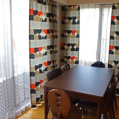 北欧系プリントカーテンでレトロな雰囲気に!大阪府茨木市のマンション