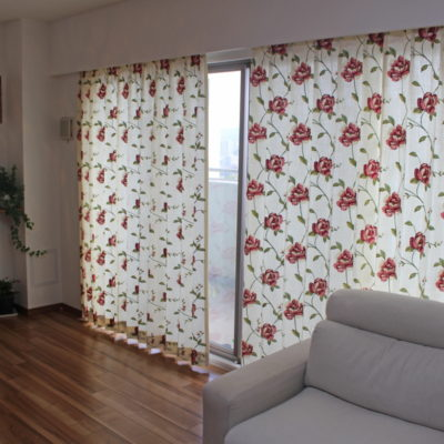 clarke&clarkeの花柄刺繍カーテンで大阪のマンションをコーディネート!